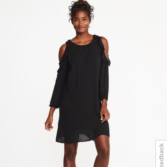 80946eb8784b Old Navy Dresses | Black Ruffled Cold Shoulder Swing Dress | Poshmark